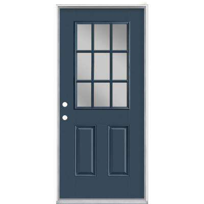 36 in. x 80 in. 9 Lite Night Tide Right-Hand Inswing Painted Smooth Fiberglass Prehung Front Exterior Door, Vinyl Frame