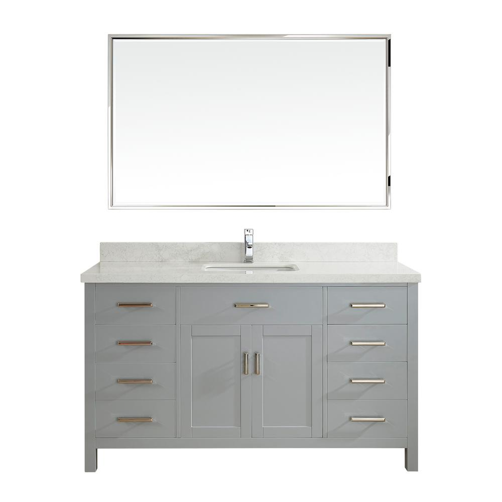 Studio Bathe Kalize II 60 in. W x 22 in. D Vanity in Oxford Gray with Engineered Vanity Top in White with White Basin and Mirror