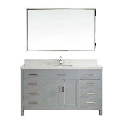 Kalize II 60 in. W x 22 in. D Vanity in Oxford Gray with Engineered Vanity Top in White with White Basin and Mirror