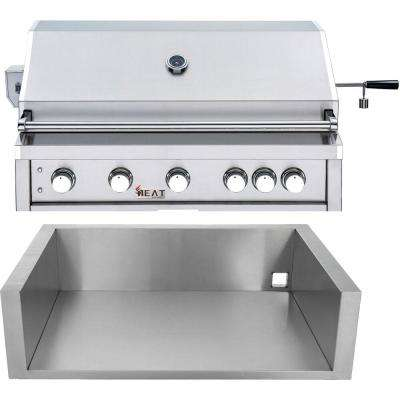 40 in. 5-Burner Natural Gas Grill in Stainless with Jacket