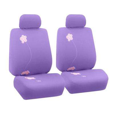 Fabric 47 in. x 23 in. x 1 in. Flower Embroidery Front Seat Covers