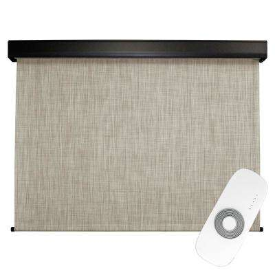 120 in. W x 96 in. L Carmel Premium PVC Fabric Exterior Roller Shade Motor/Remote Operated with Protective Valance