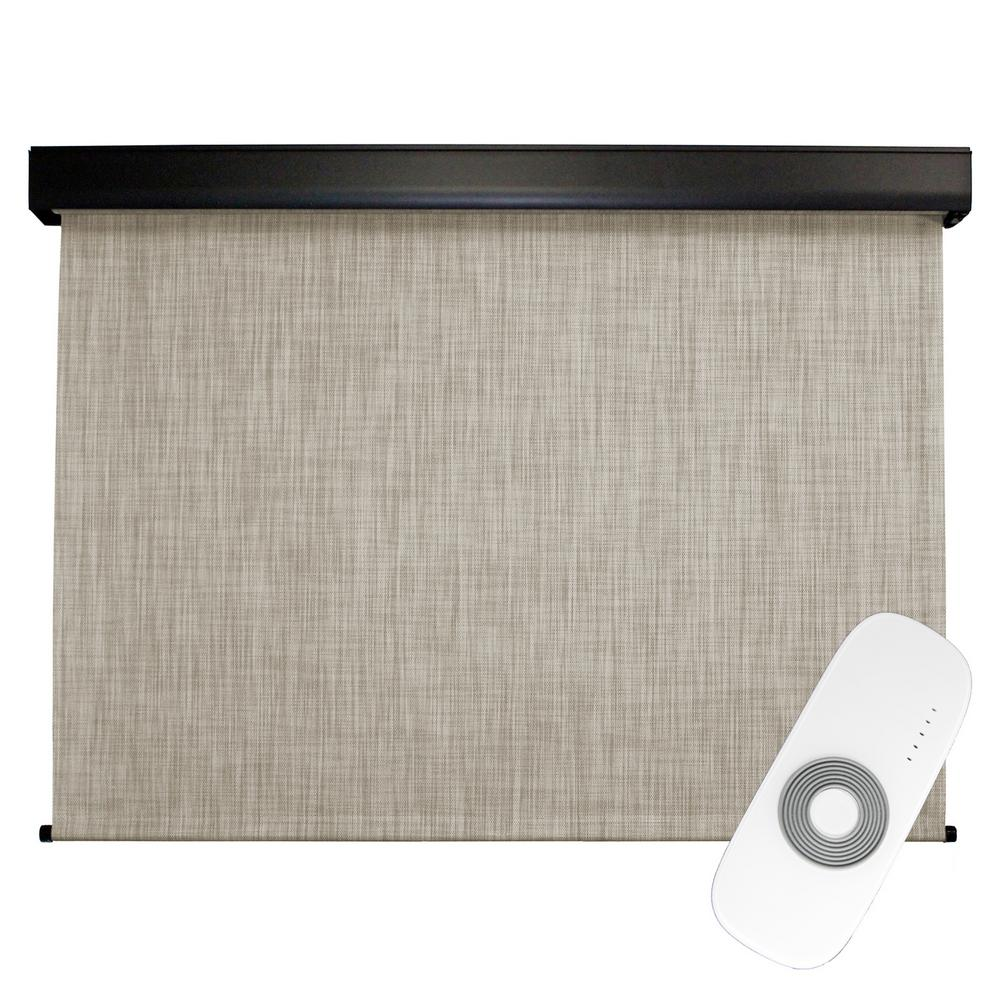 SeaSun 96 in. W x 96 in. L Carmel Premium PVC Fabric Exterior Roller Shade Motor/Remote Operated with Protective Valance