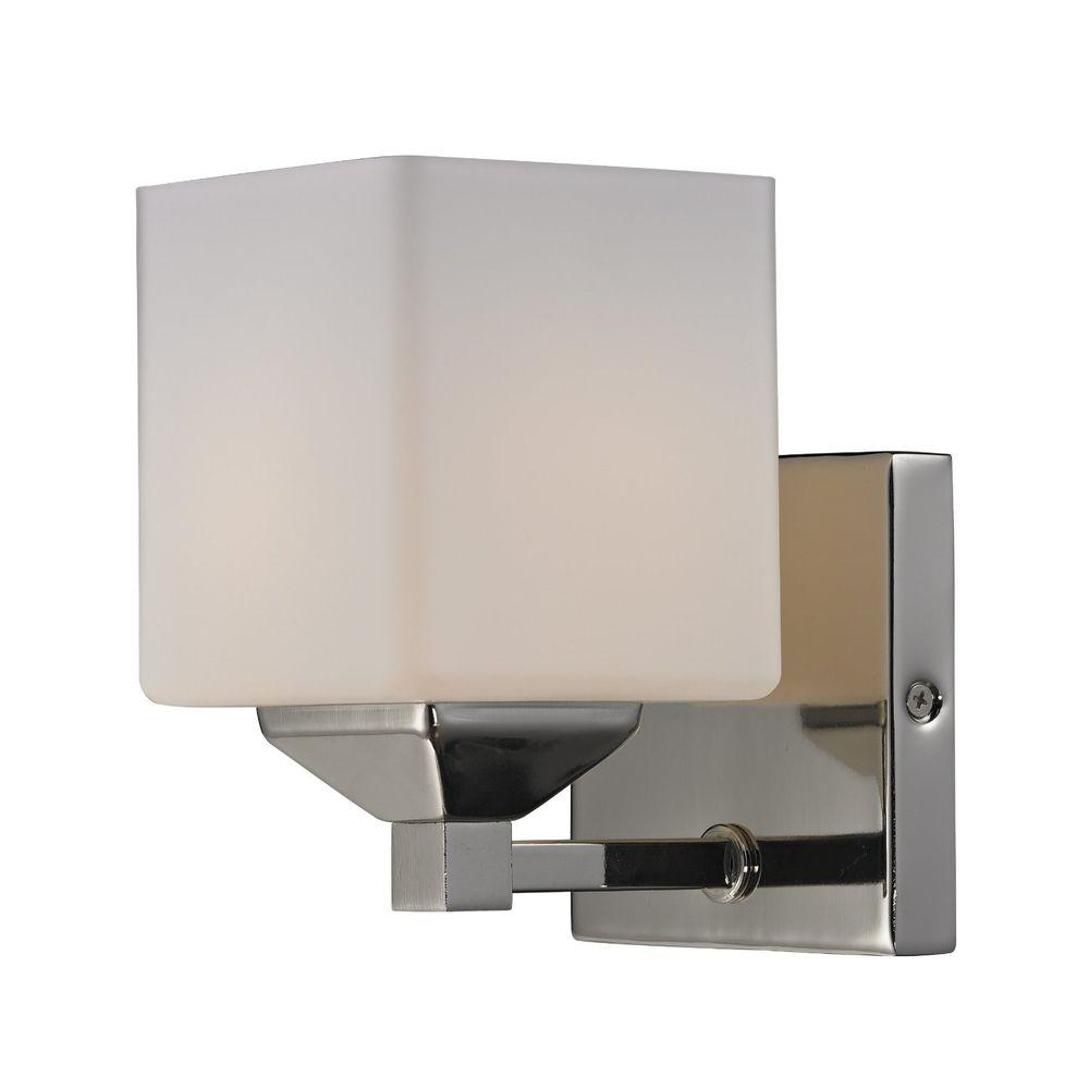Lawrence 1-Light Chrome and Matte Opal Incandescent Bath Vanity Light