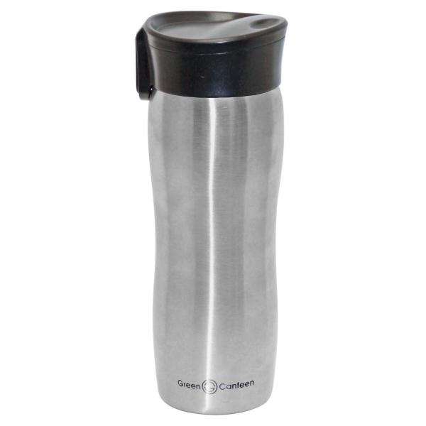 8c941494e4d 14 oz. Silver Double Wall Stainless Steel Vacuum Tumbler with Push Button  (6-Pack)