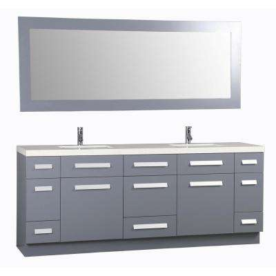 Moscony 84 in. W x 22 in. D Vanity in Gray with Quartz Vanity Top in White White Basin and Mirror