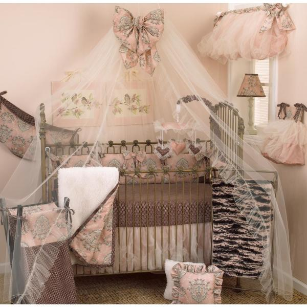 Nightingale 8-Piece Pink and Brown Toile Crib Bedding Set