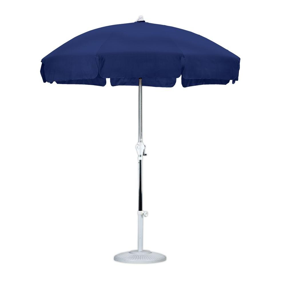 Attirant 7 1/2 Ft. Anodized Aluminum Push Tilt Patio Umbrella In Navy Blue