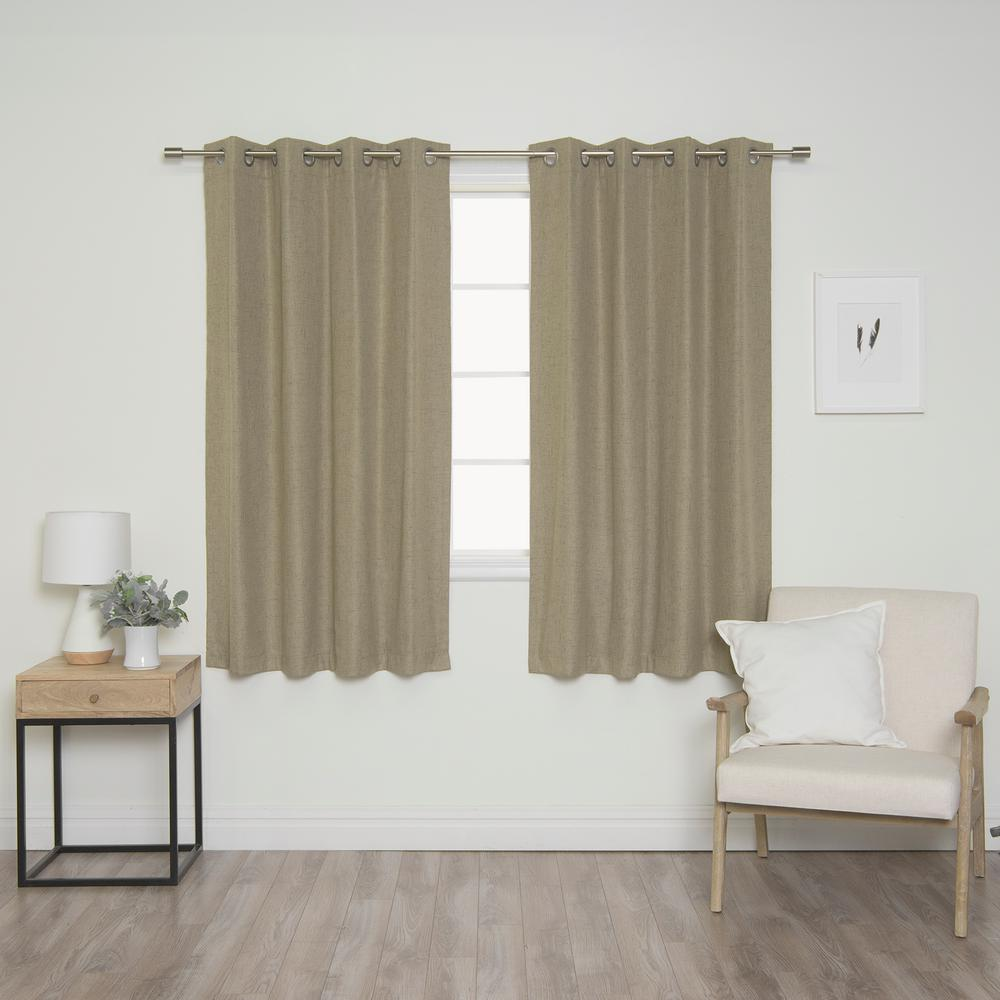 Best Home Fashion Linen Look 52 in. W x 63 in. L Grommet Curtains in Brown (2-Pack)