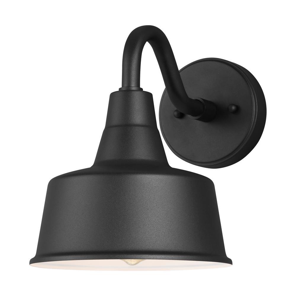 Sea Gull Lighting Barn Light 1 Black Outdoor Wall Mount Lantern Sconce