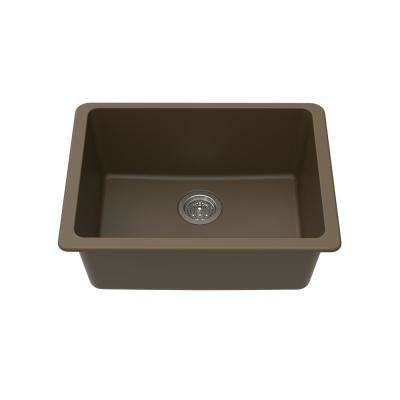 Undermount Granite Composite 25 in. L x 18-1/2 in. L x 9-1/2 in. Single Bowl Kitchen Sink in Mocha