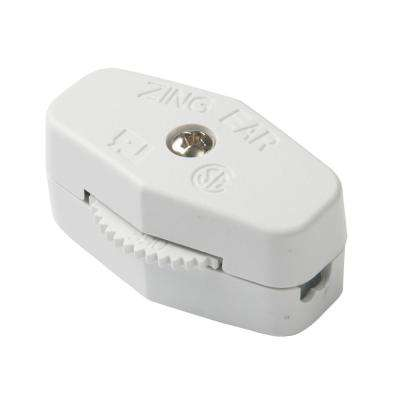 Heavy Duty Cord Switch SPST White 3A 250VAC/6 A 125VAC (Case of 5)