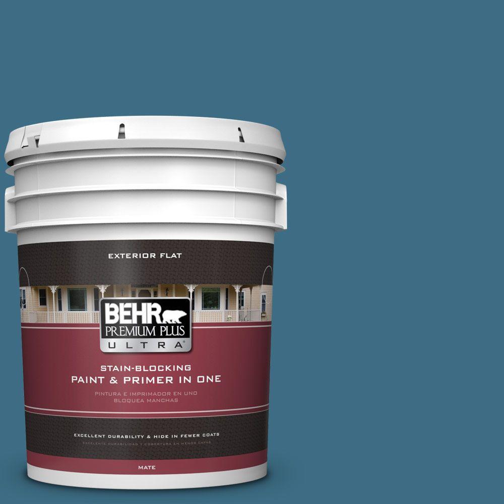 BEHR Premium Plus Ultra 5-gal. #S490-6 Bering Wave Flat Exterior Paint
