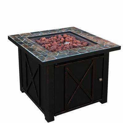 30 in. x 30 in. Tile Square Aluminum Propane LPG Gas Outdoor Patio Heater Fire Pit Table with Lava Rocks