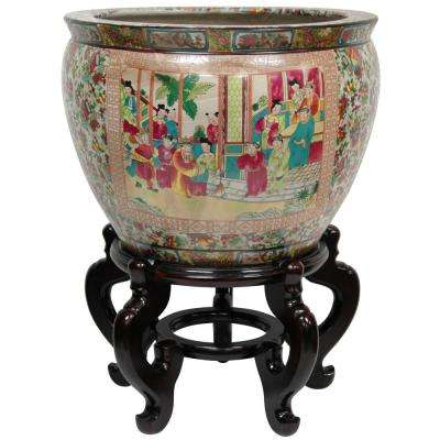 Oriental Furniture 18 in. Rose Medallion Porcelain Fishbowl