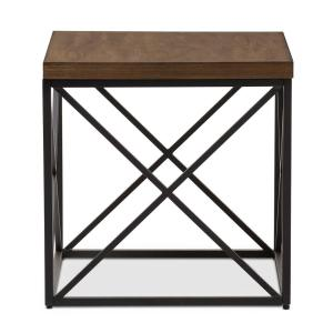 Baxton Studio Holden Medium Brown Wood Finished End Table by Baxton Studio