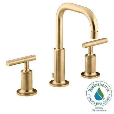 Purist 8 in. Widespread 2-Handle Mid-Arc Water-Saving Bathroom Faucet in Vibrant Modern Brushed Gold