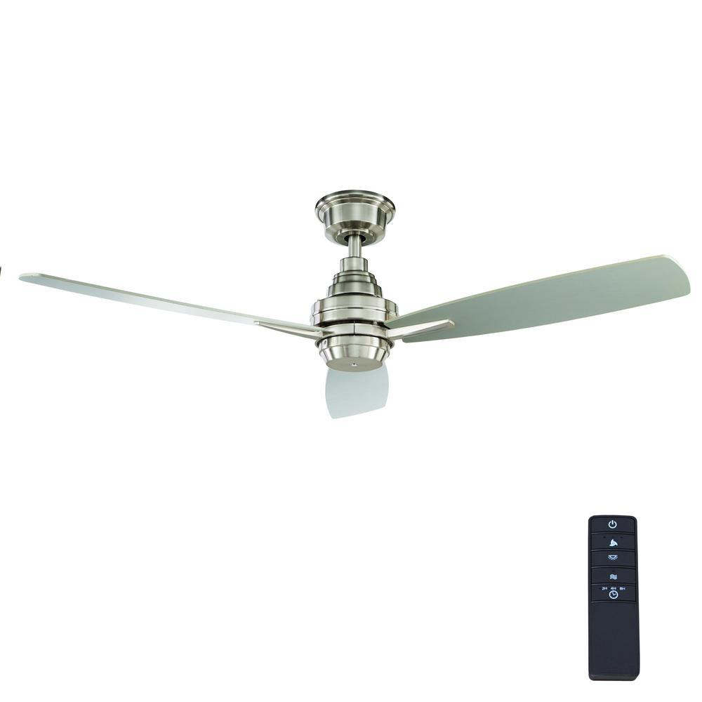 Home Decorators Collection Samson Park 52 In Indoor Brushed Nickel Ceiling Fan With Remote Control
