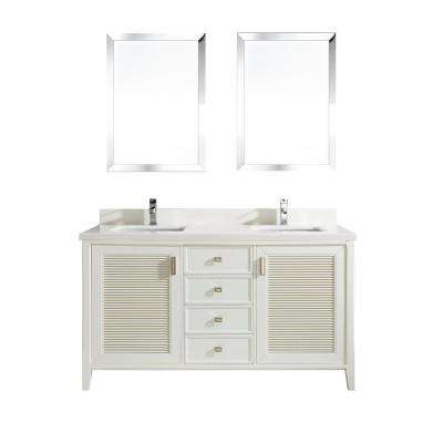 Aurora 63 in. W x 22 in. D Vanity in White with Quartz Vanity Top in White with White Basin and Mirror
