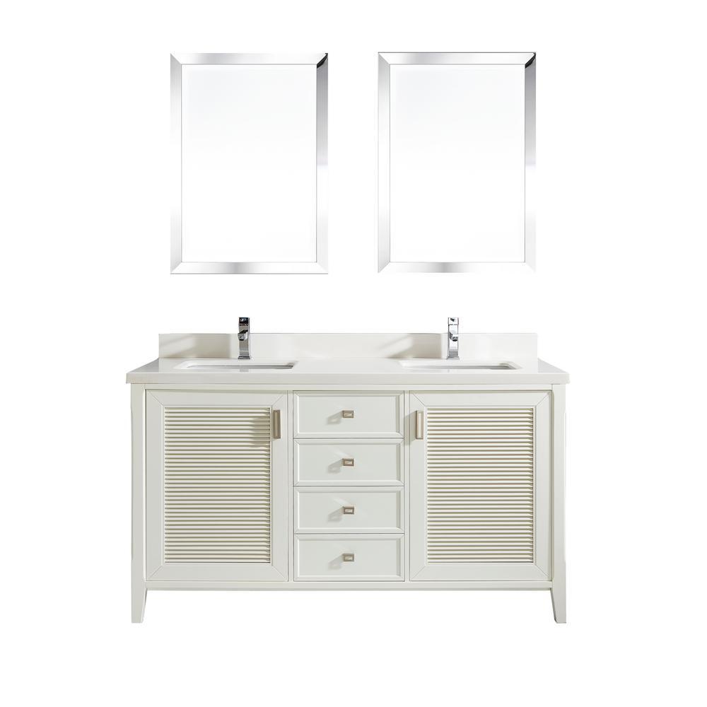 Studio Bathe Aurora 63 in. W x 22 in. D Vanity in White w...