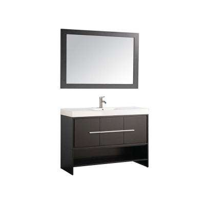 Cypress 48 in. W x 18 in. D x 36 in. H Vanity in Espresso with Acrylic Vanity Top in White with White Basin and Mirror