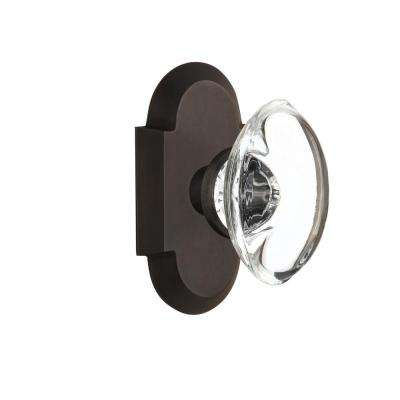 Cottage Plate 2-3/8 in. Backset Oil-Rubbed Bronze Privacy Bed/Bath Oval Clear Crystal Glass Door Knob