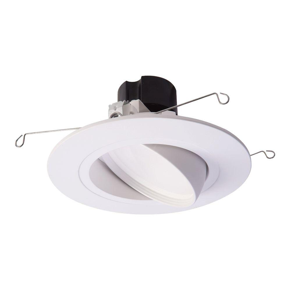 Halo RA 5 in. and 6 in. White Integrated LED Recessed Ceiling Light Fixture Adjustable Gimbal Trim 90 CRI, 2700K Warm White