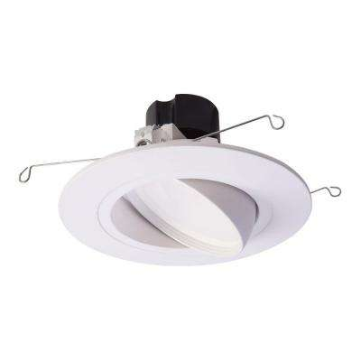 RA 5 in. and 6 in. White Integrated LED Recessed Ceiling Light Fixture Adjustable Gimbal Trim 90 CRI, 2700K Warm White