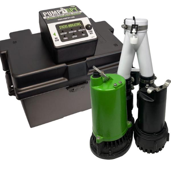 SmartPump Pre-Assembled Wi-Fi Connected 1/2HP Submersible Sump Pump and Battery Backup System with Monitoring and Alerts
