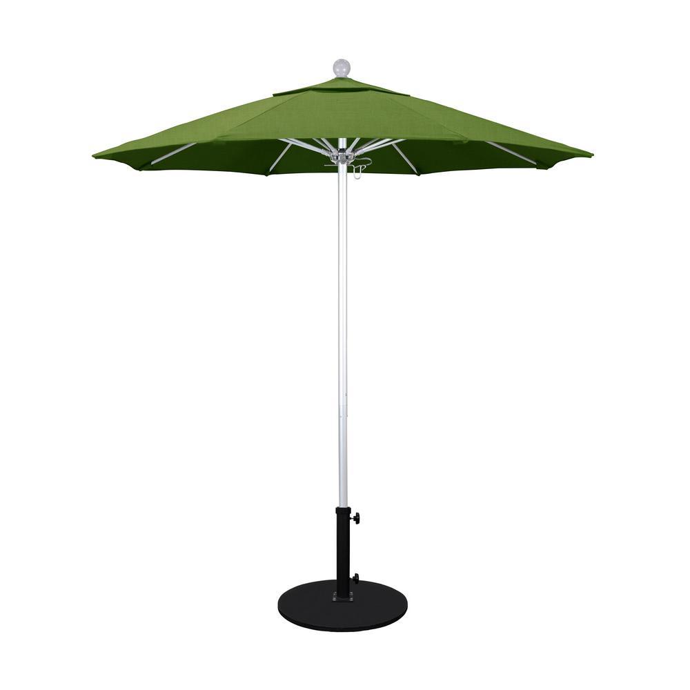 7.5 ft. Outdoor Patio Umbrella Silver Anodized Aluminum Pole Fiberglass Ribs Push Lift  in Spectrum Cilantro Sunbrella