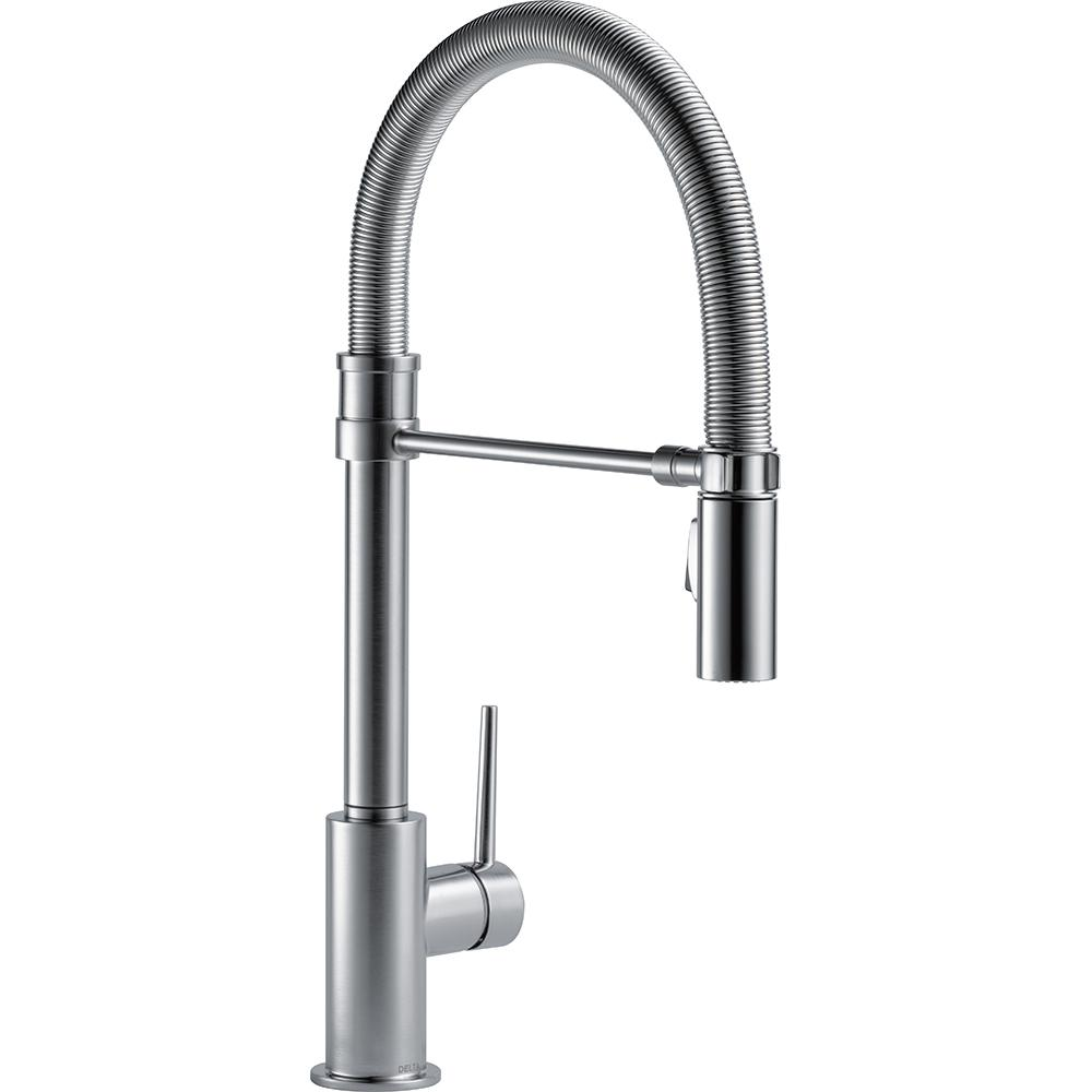 Delta Trinsic Single Handle Pull Down Sprayer Kitchen Faucet With Spring Spout In Arctic