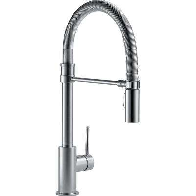 Trinsic Pro Single-Handle Pull-Down Sprayer Kitchen Faucet with Spring Spout in Arctic Stainless