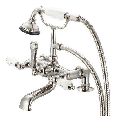 3-Handle Claw Foot Tub Faucet with Labeled Porcelain Lever Handles and Hand Shower in Polished Nickel PVD