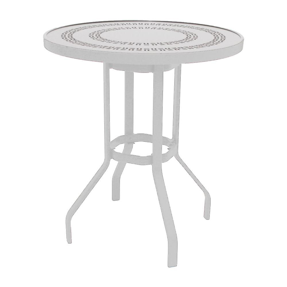 White Round Commercial Aluminum Bar Height Outdoor Patio Dining Table