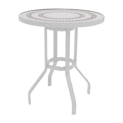 Marco Island 36 in. White Round Commercial Aluminum Bar Height Patio Dining Table