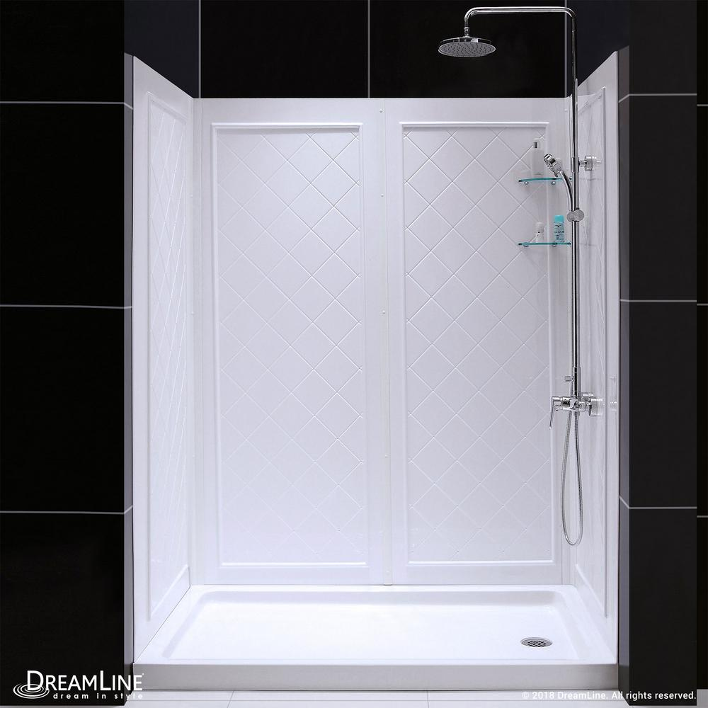 DreamLine QWALL-5 36 in. x 60 in. x 76-3/4 in. Standard Fit Shower Kit in White with Shower Base and Back Wall