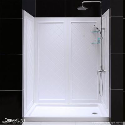 QWALL-5 36 in. x 60 in. x 76-3/4 in. Standard Fit Shower Kit in White with Shower Base and Back Wall