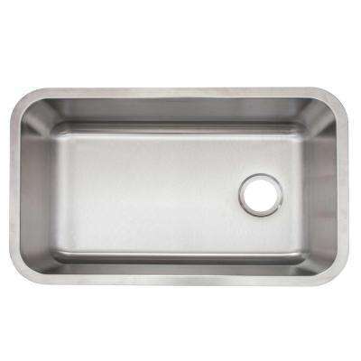 Undermount Stainless Steel 30 in. Single Bowl Kitchen Sink with Drain and Grid