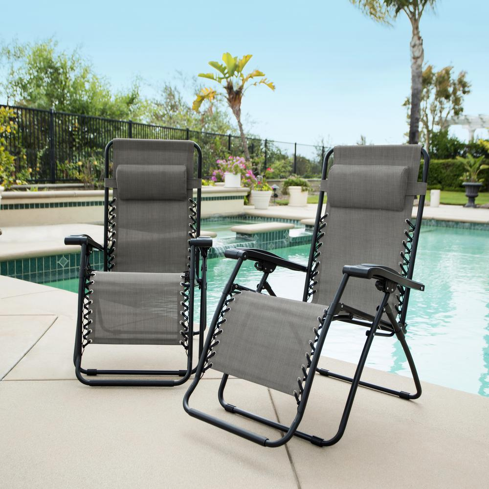 Caravan Grey Metal Infinity Zero Gravity Patio Chair (2 Pack)