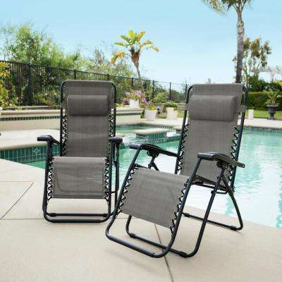 Caravan Grey Metal Infinity Zero Gravity Patio Chair (2-Pack)