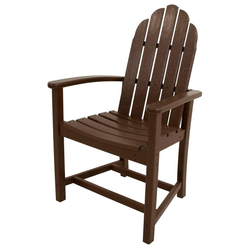 POLYWOOD Classic Mahogany Adirondack All-Weather Plastic Outdoor Dining Chair