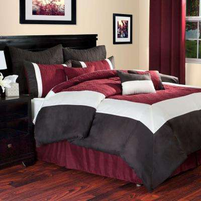 Hotel 9-Piece Burgundy Queen Comforter Set