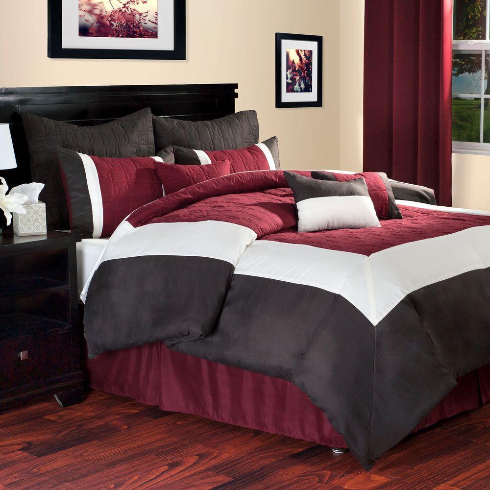 Lavish Home Hotel 9 Piece Burgundy Queen Comforter Set