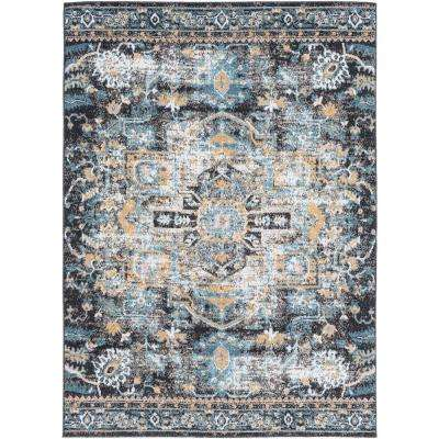 Lyra Navy 5 ft. 3 in. x 7 ft. 3 in. Distressed Oriental Area Rug