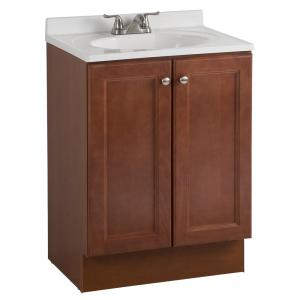 Glacier Bay All-In-One 24 inch W Bath Vanity Combo in Amber with Cultured Marble Vanity Top in White by Glacier Bay