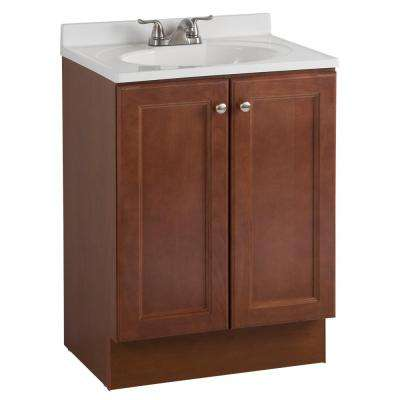 All-In-One 24 in. W Bath Vanity Combo in Amber with Cultured Marble Vanity Top in White
