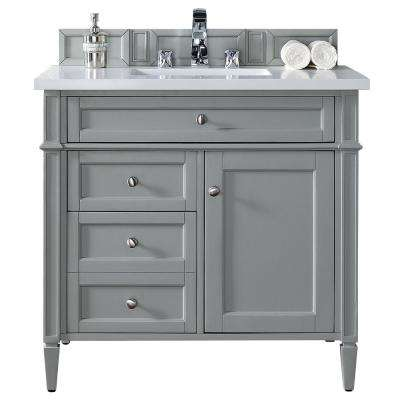 Brittany 36 in. W Single Vanity in Urban Gray with Quartz Vanity Top in White with White Basin