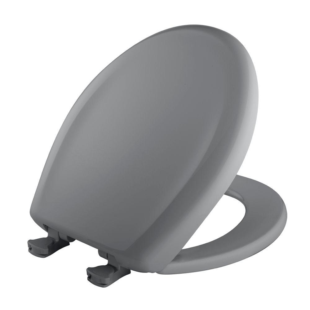 WhisperClose Round Closed Front Toilet Seat in Country Grey