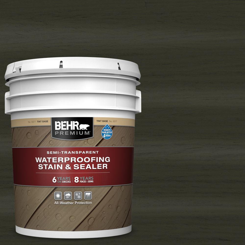 BEHR Premium 5 gal. #ST-108 Forest Semi-Transparent Waterproofing Exterior Wood Stain and Sealer