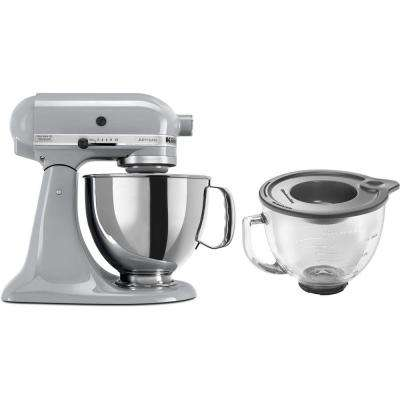 Artisan 5 Qt. 10-Speed Metallic Chrome Stand Mixer with Flat Beater, Wire Whip and Dough Hook Attachments